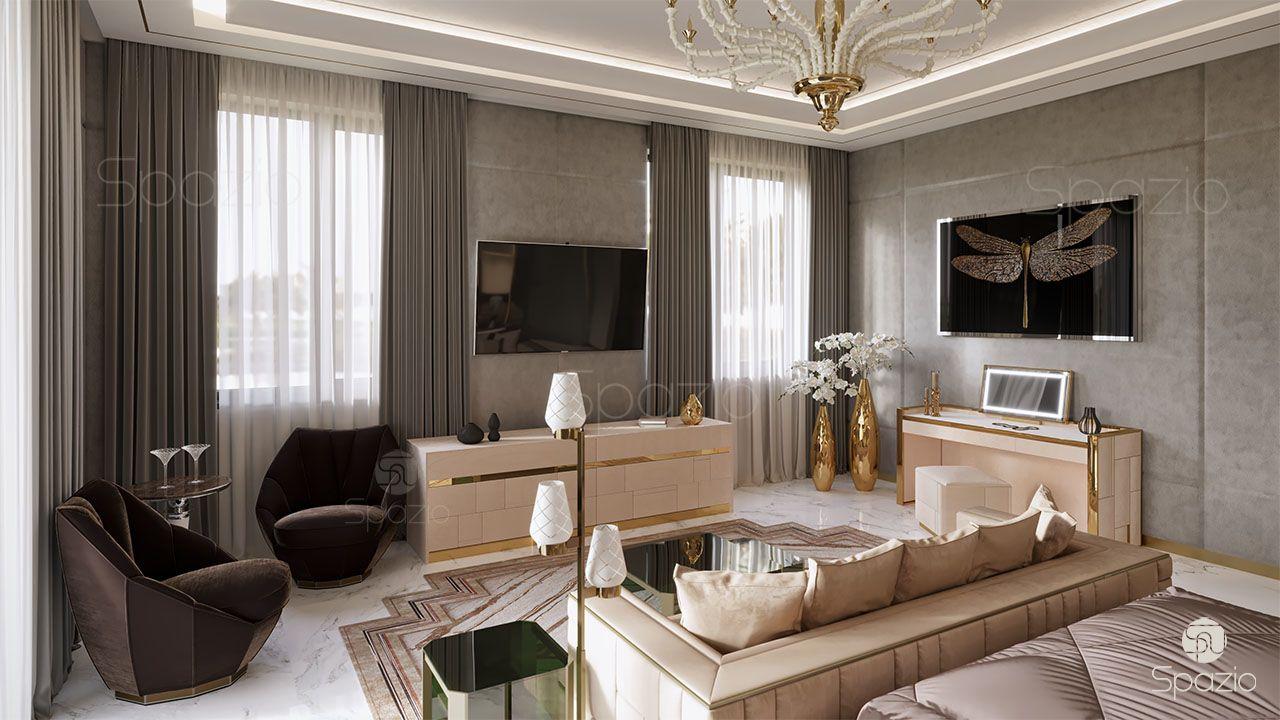 Spazio interior decoration llc creates a master bedroom interior design in dubai