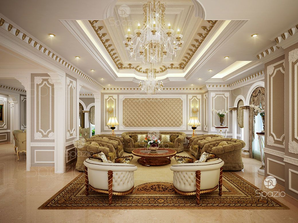 Traditional Arabic seating in a residential palace in classical style