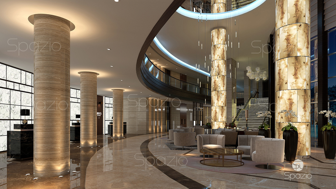 hotel main lobby reception interior design  Spazio