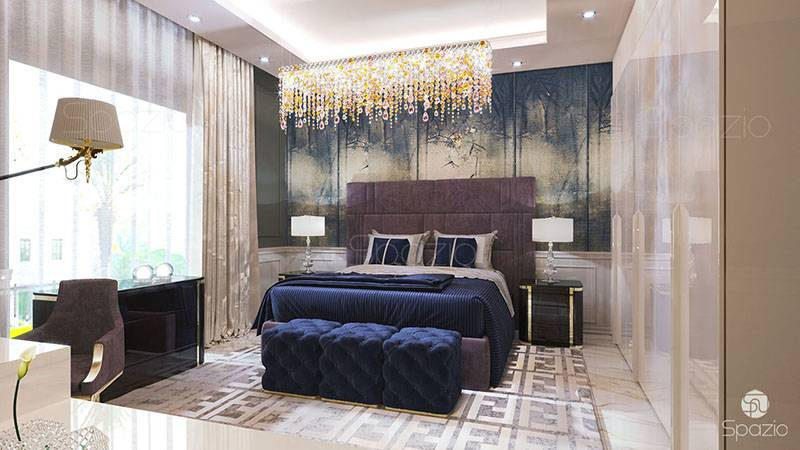 perfect master bedroom in modern luxury interior design villa in Dubai house with combination floor decor on walls