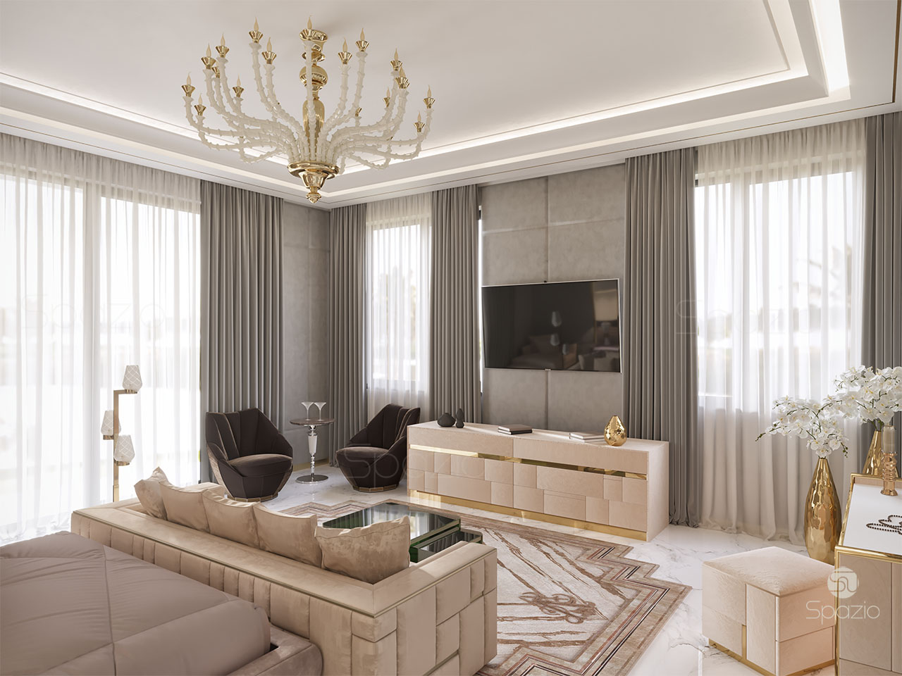 luxury master bedroom interior design in dubai 2019 spazio 18958 | luxury master bedroom design
