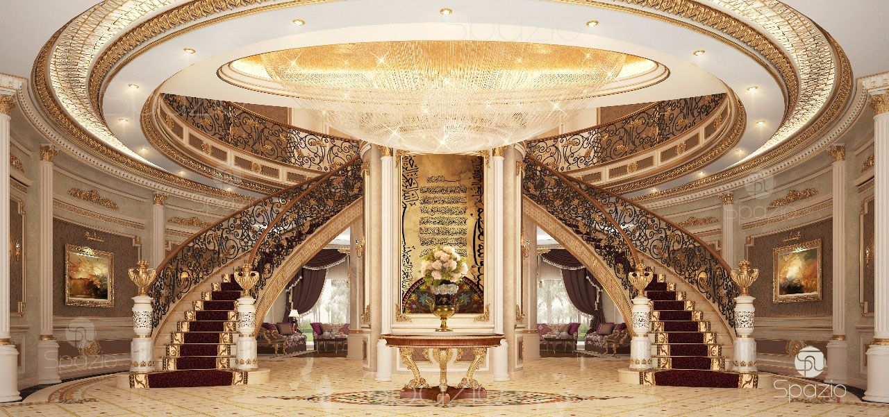 residential palace main staircase is made in classical style with gold, stucco, traditional Arabic decor