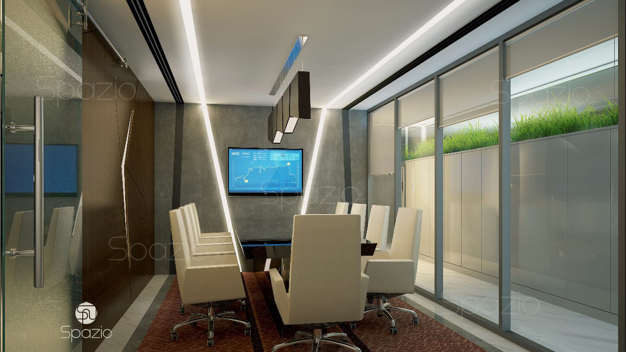 The meeting room is decorated with modern materials and is filled with stylish furniture.