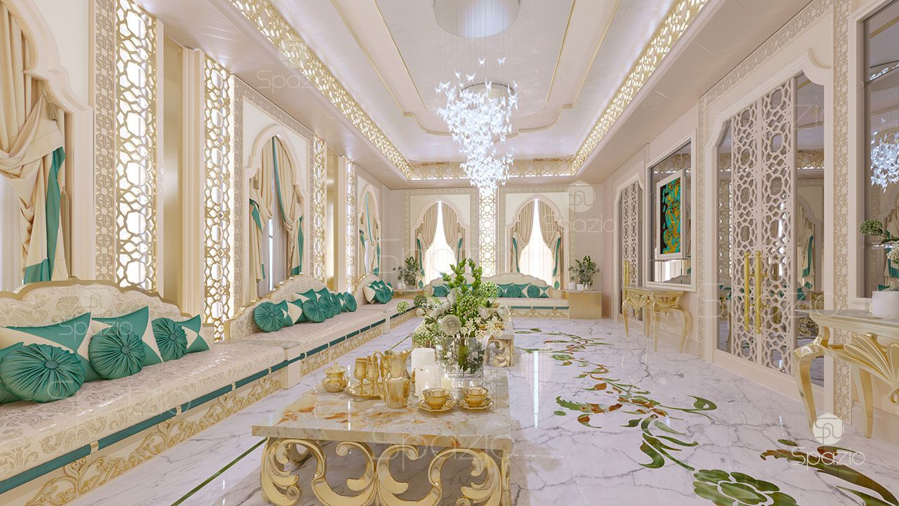Luxury Majlis interior design concept was created in 2017 year for for the Arab family, who prefers to have a unique style