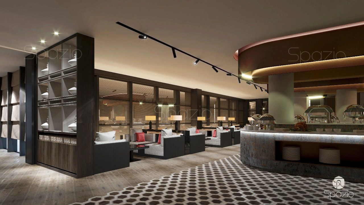 The modern lounge and catering is decorated with concrete and wood, which creates an ultramodern style.