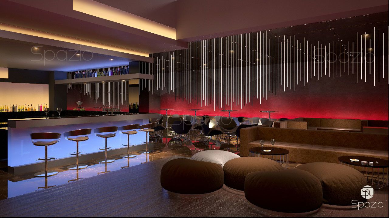 A modern bar in red tones with dynamic decor was made by our professional architects