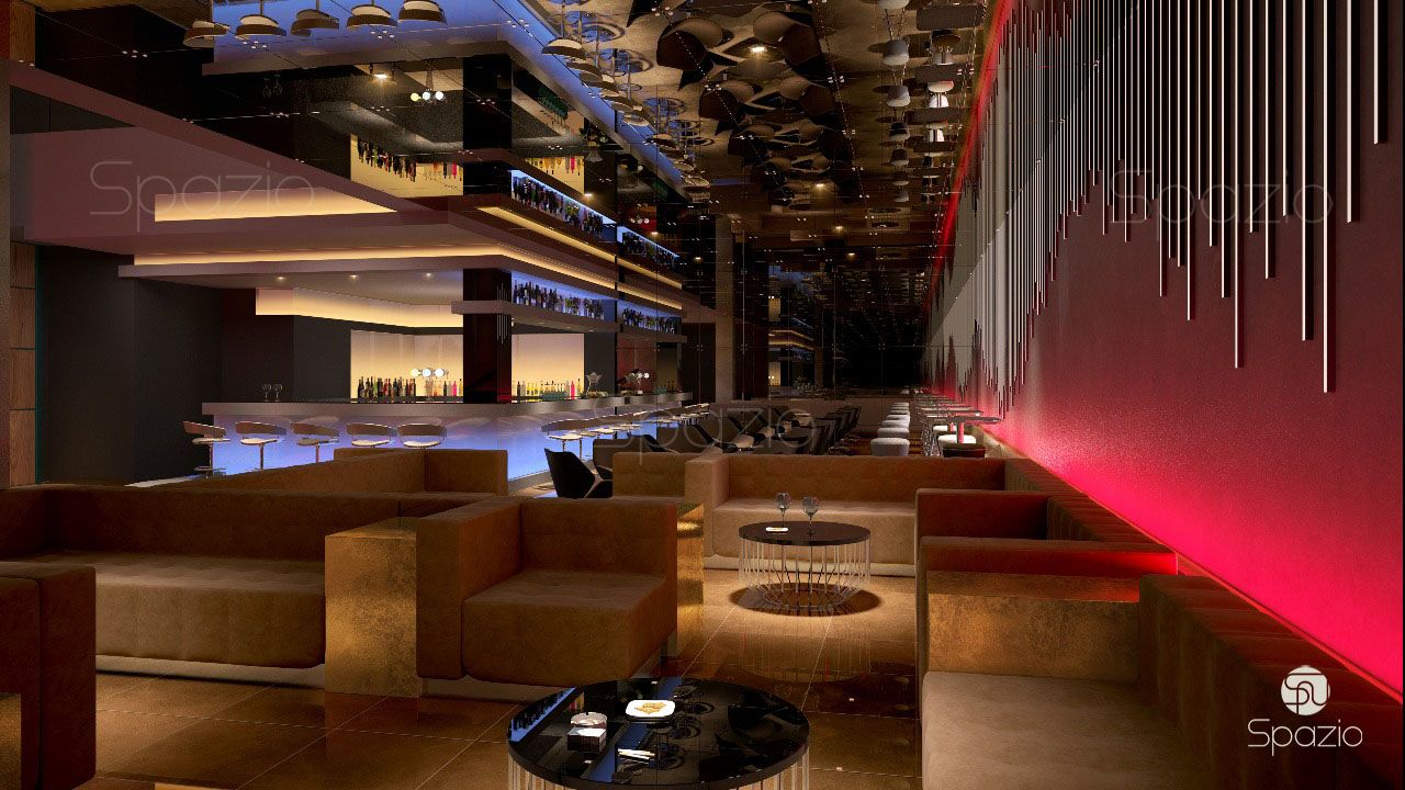A modern bar is created in red colors with granular electrolytes and repeating lines to achieve the dynamics of the bar space