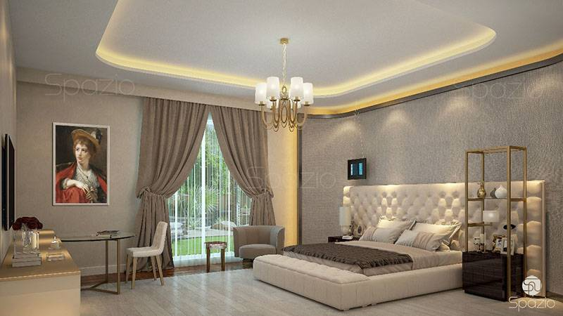A delightful bedroom in beige tones with a large bed and authentic art works on the walls