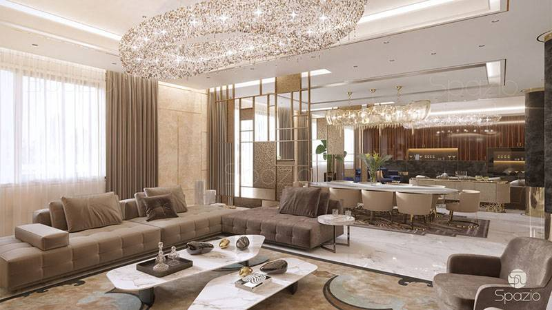 Modern villa interior design in dubai 2018 spazio for Living room designs 2018