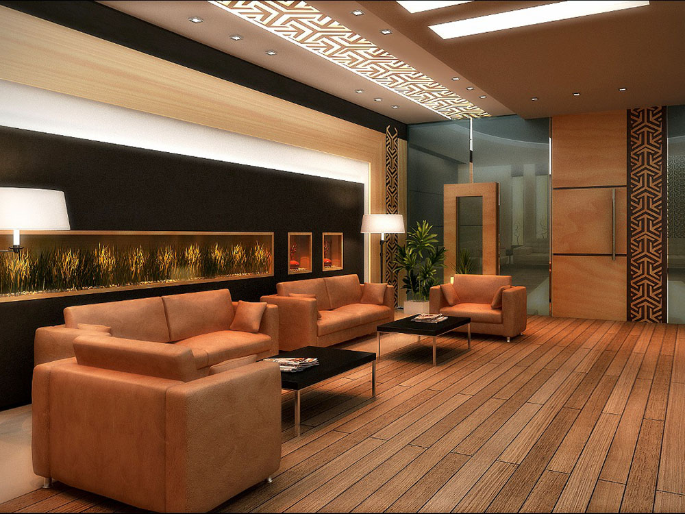 A waiting and negotiating area in a modern business building made by first class architects board room in orange shades for a successful company in uae