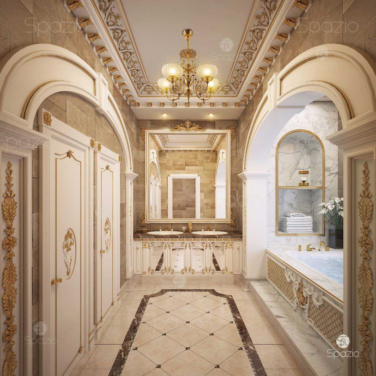 The main bathroom made by us in a luxurious residence in Abu Dhabi. Order an unrivaled interior for your residence.
