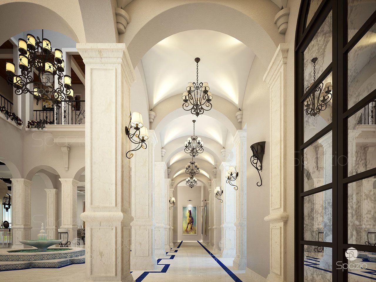 Beautiful hall with high ceilings in white color designed by architect of Spazio luxury interior design company in Dubai