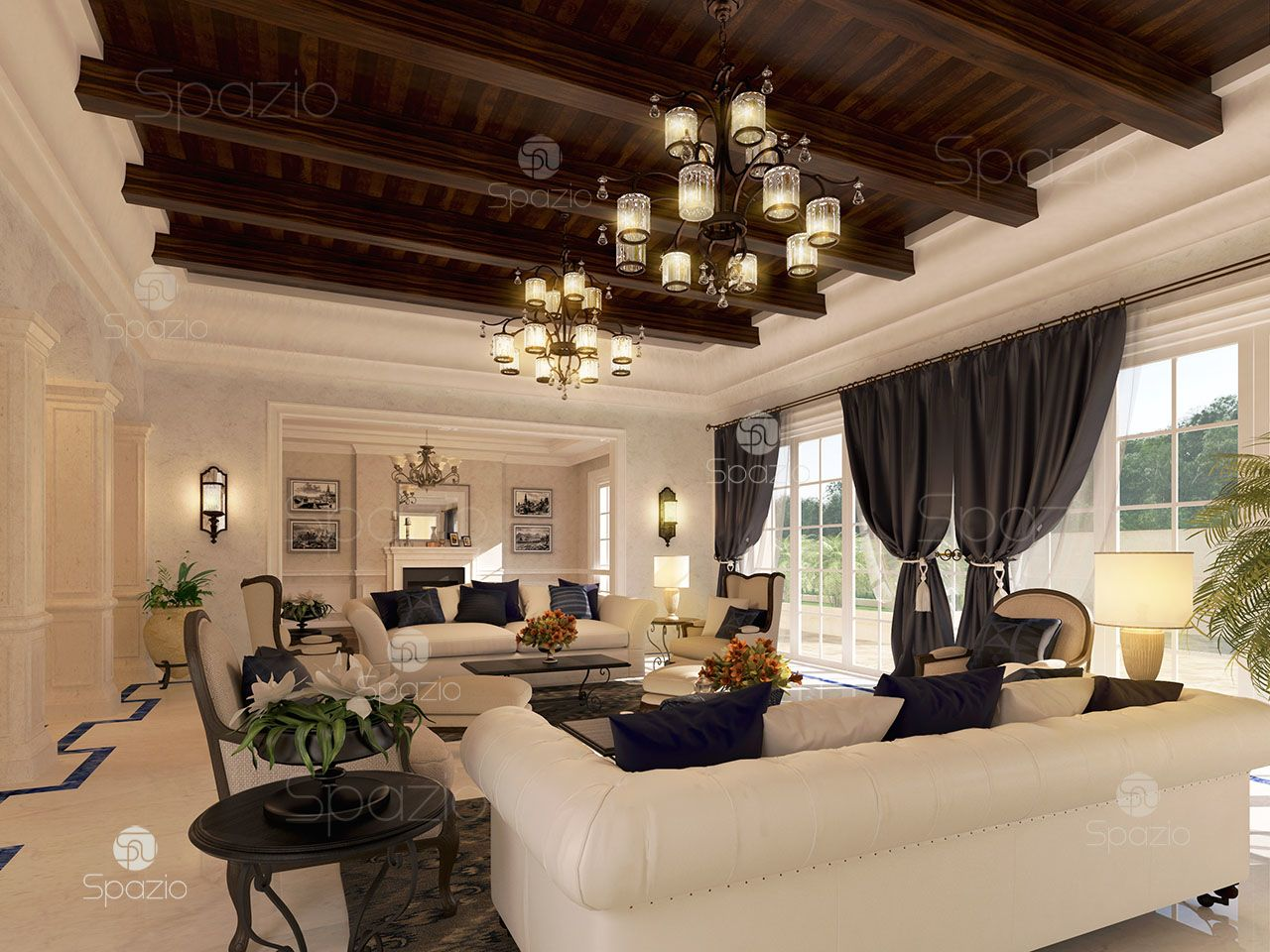 A delightful living room combining several styles, wooden ceiling decor, marble, soft white sofas