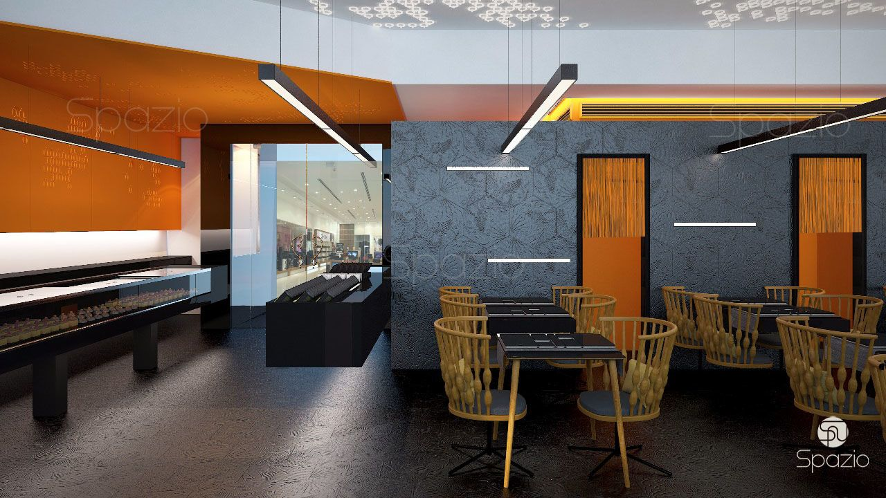 Pay attention to the combination of colors and texture of materials on the cafe walls.