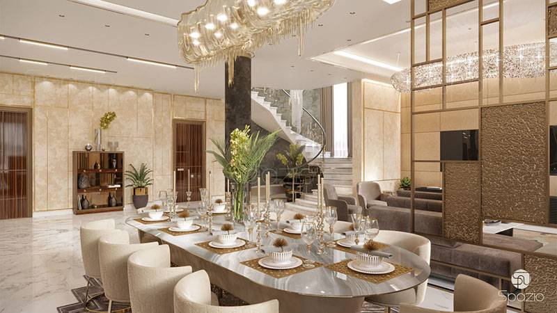 dining interior design in Dubai villa | Spazio Interior
