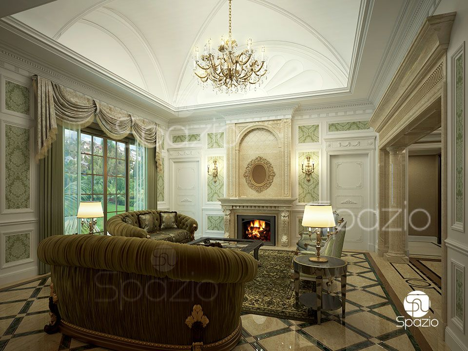 Luxurious classic style seating room made in light beige tones and brown with stucco and gold decor
