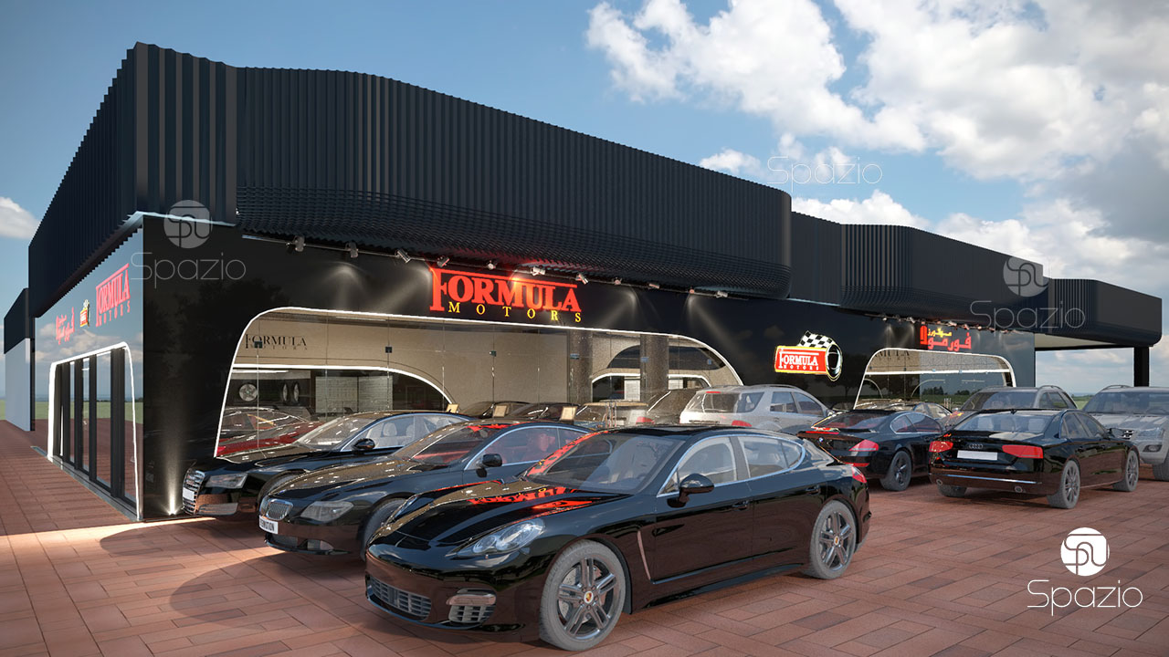 car shop and showroom architecture in black color and large windows. A large space in front of the showroom is advantageously used for a car exhibition.