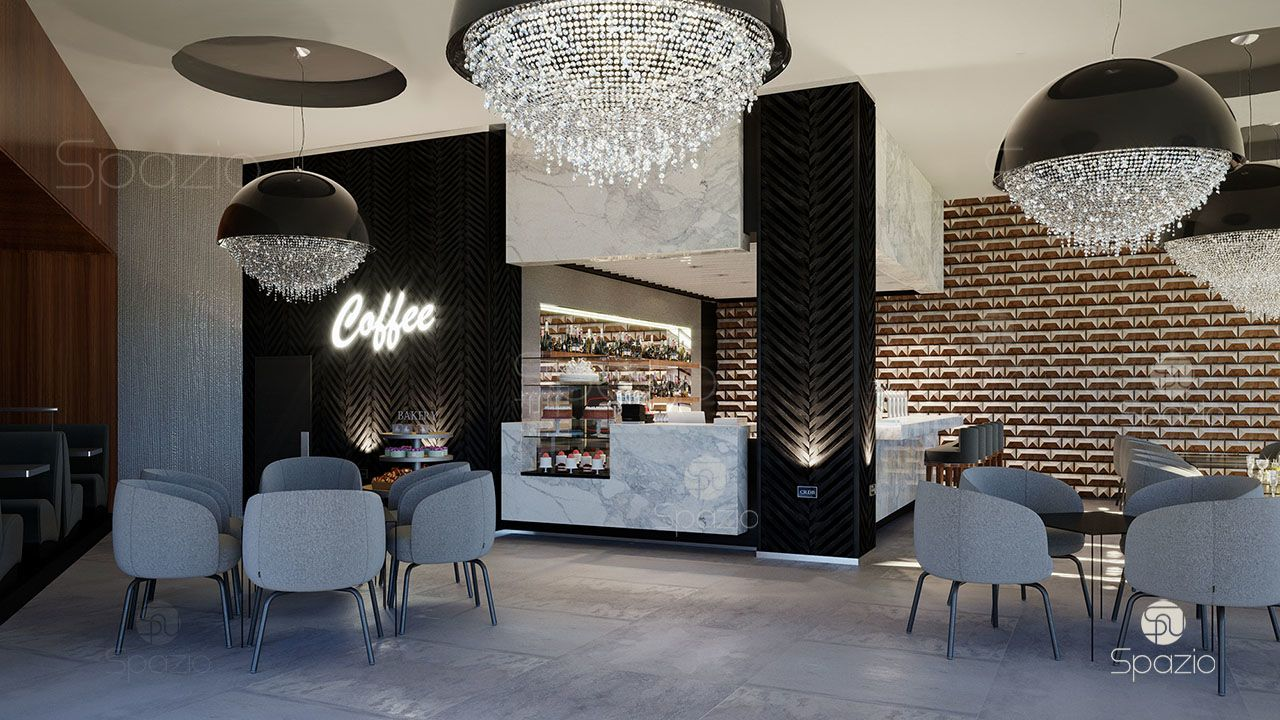Сafe space can be divided by large chandeliers that attract attention and create decor