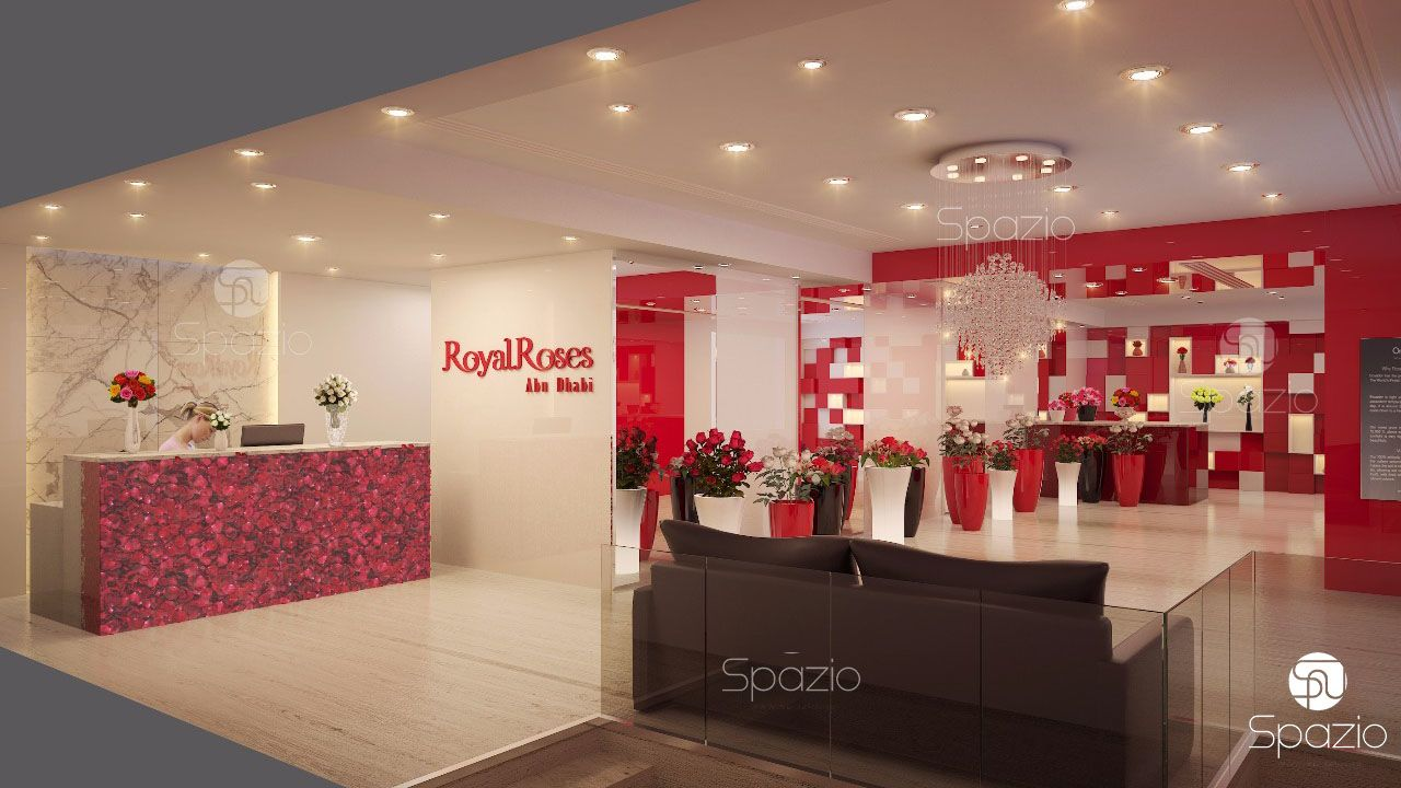 flower shop decoration with the use of bright colors, spatial zoning and modern decor