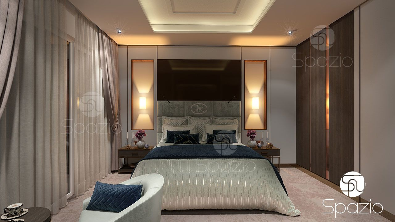 A beautiful large inn bedroom concept created by professional architects and designers of one of the best companies in UAE
