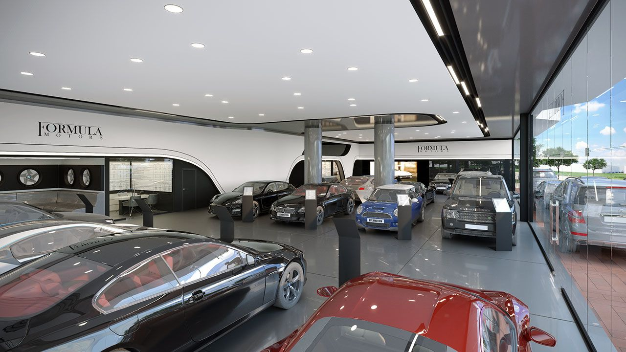 odern functional spatial and decorative solution for car dealer
