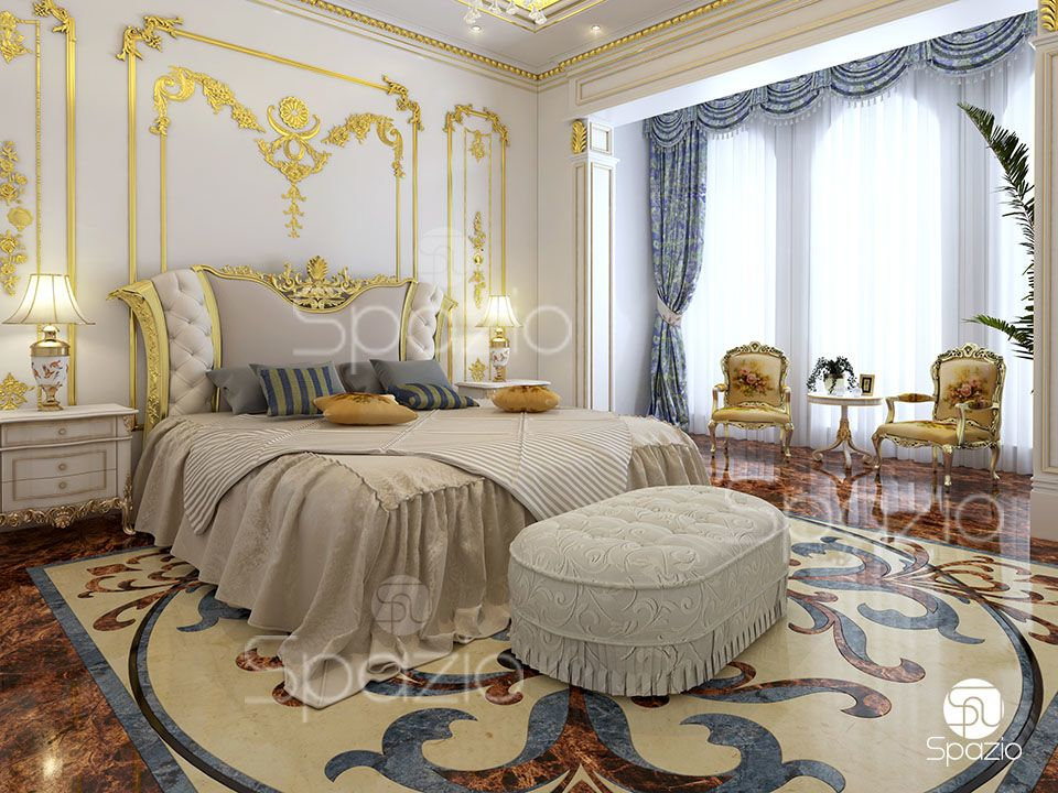 The finishing of the main bedroom is at the highest level. High-quality materials, gold decor and a beautiful bed.