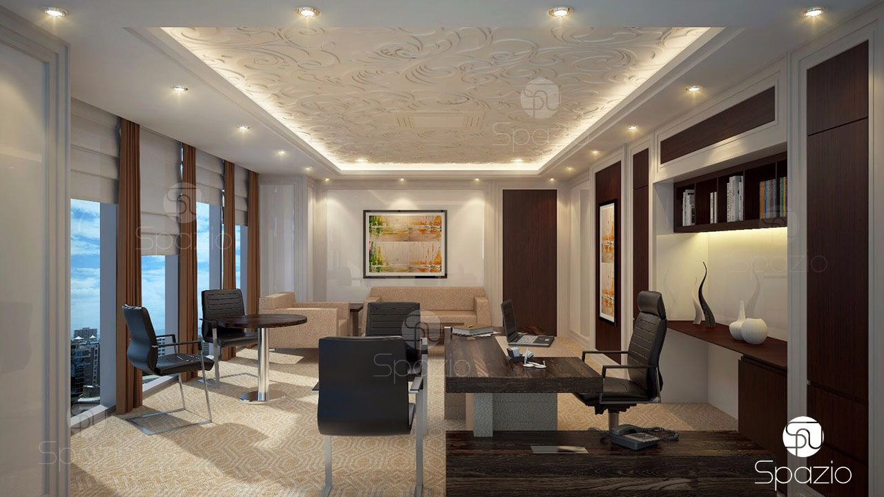 Main room for a director in a luxurious style and expensive leather furniture is made taking into account the characteristics of space and customer needs