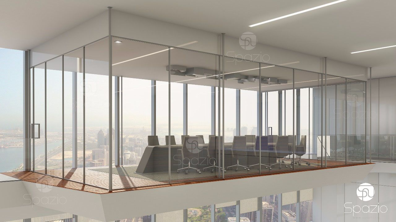 An interesting architectural decision to make a boardroom in an empty space at the second level