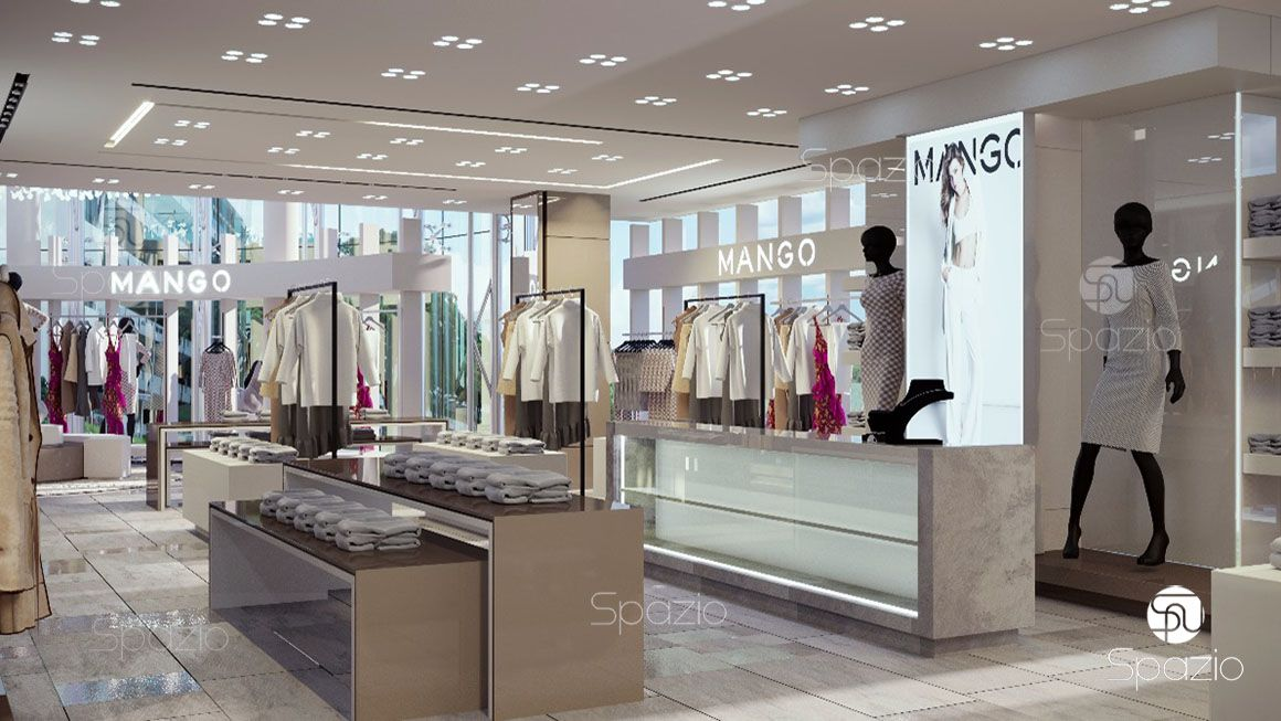 The decor concept  for MANGO woman's clothes shop was developed with a soft decoration