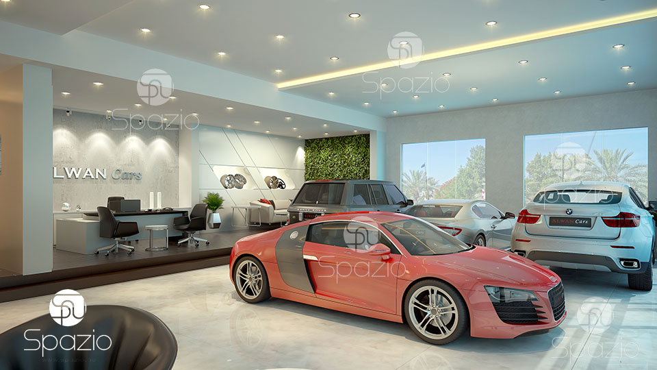 It is a solution for AlWan auto dealership in modern style with traditional elements.