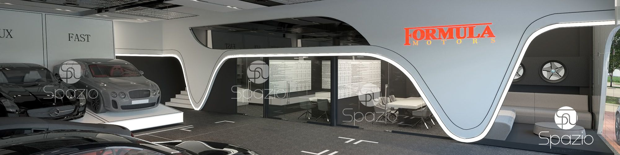 Perfect auto showroom design was created for client in united arab emirates in 2017 year.