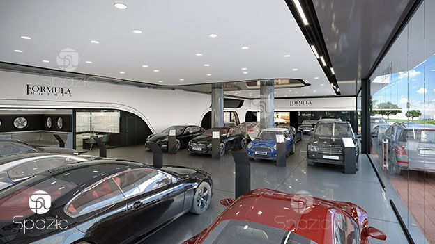 The solution is made in a combination of stylish metal structures and white walls to create a man's atmosphere and the main emphasis on cars.