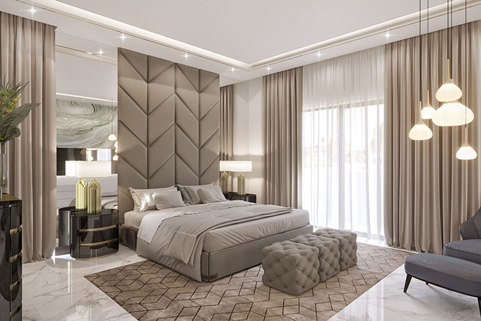 bedroom interior decor is created by Spazio LLC Dubai