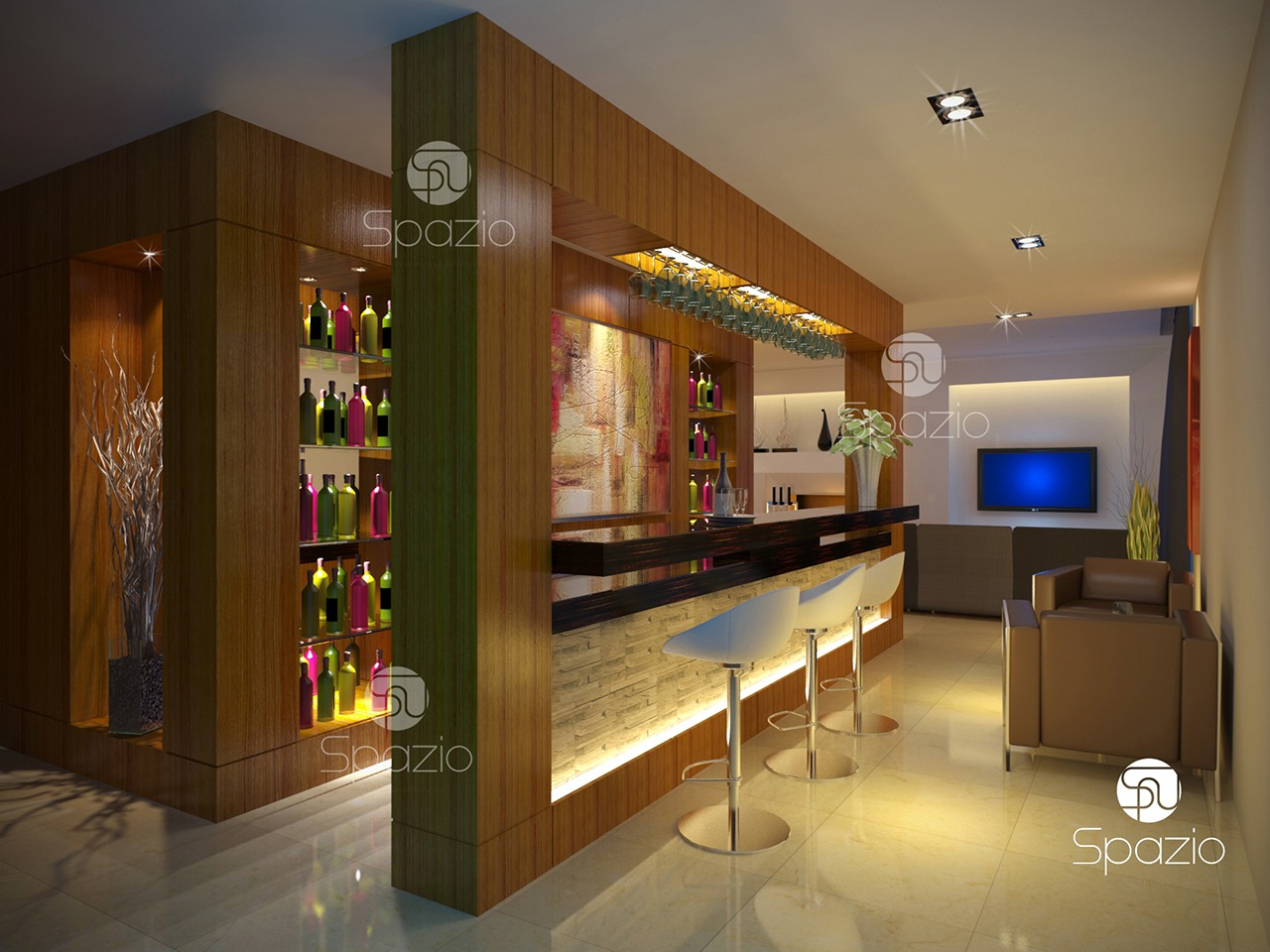A personal bar in a dream house living room