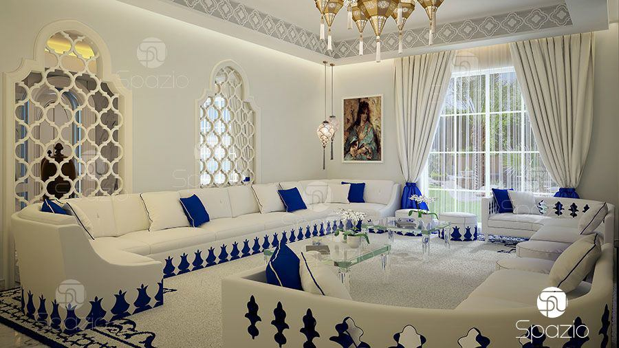 latest women's majlis with white and blue colors