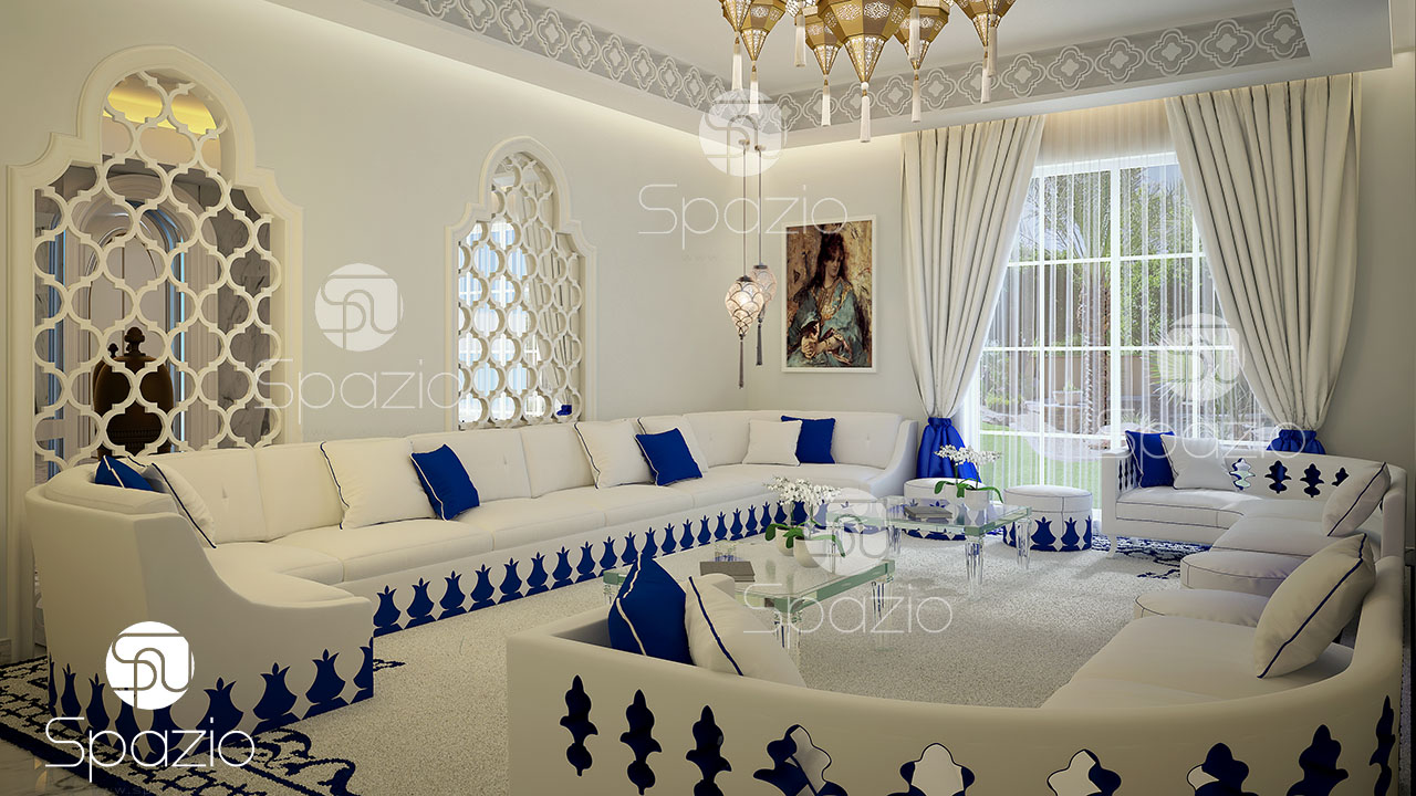 Luxury Arabic majlis decorating in white and blue color.