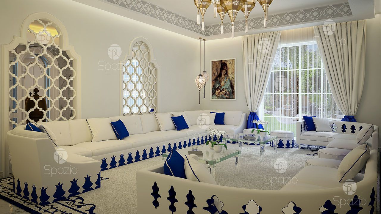 Moroccan themed living room decor in Dubai  Spazio