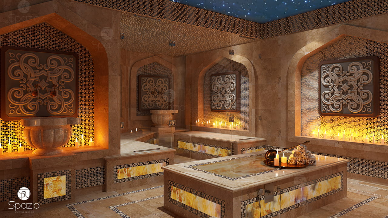 Main spa room decorated in oriental style..