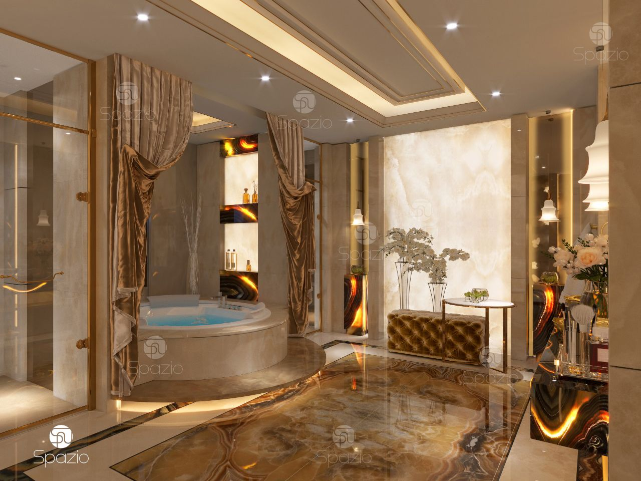 Toilet decoration in luxury style.