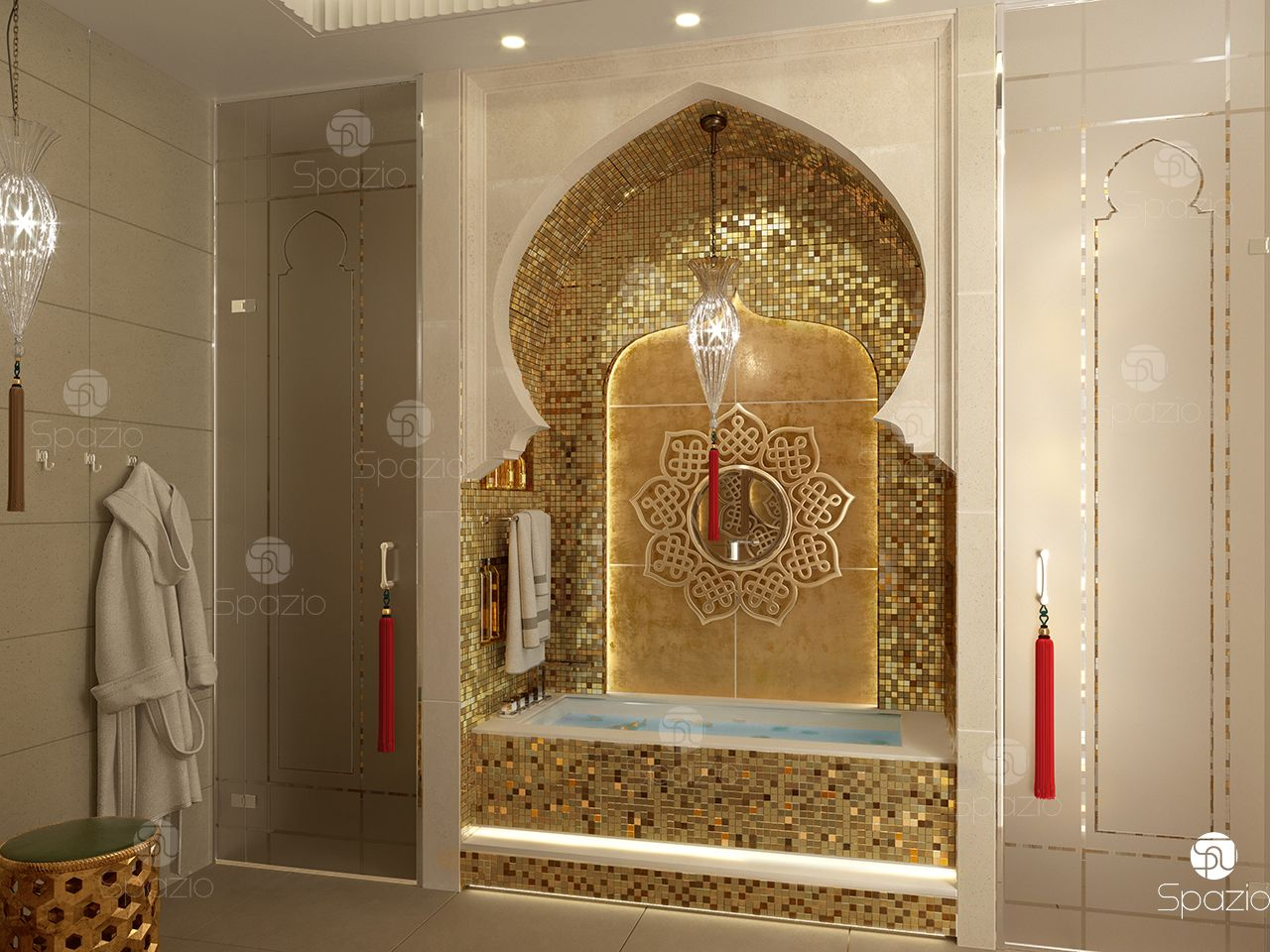Moorish bathroom decoration solution.