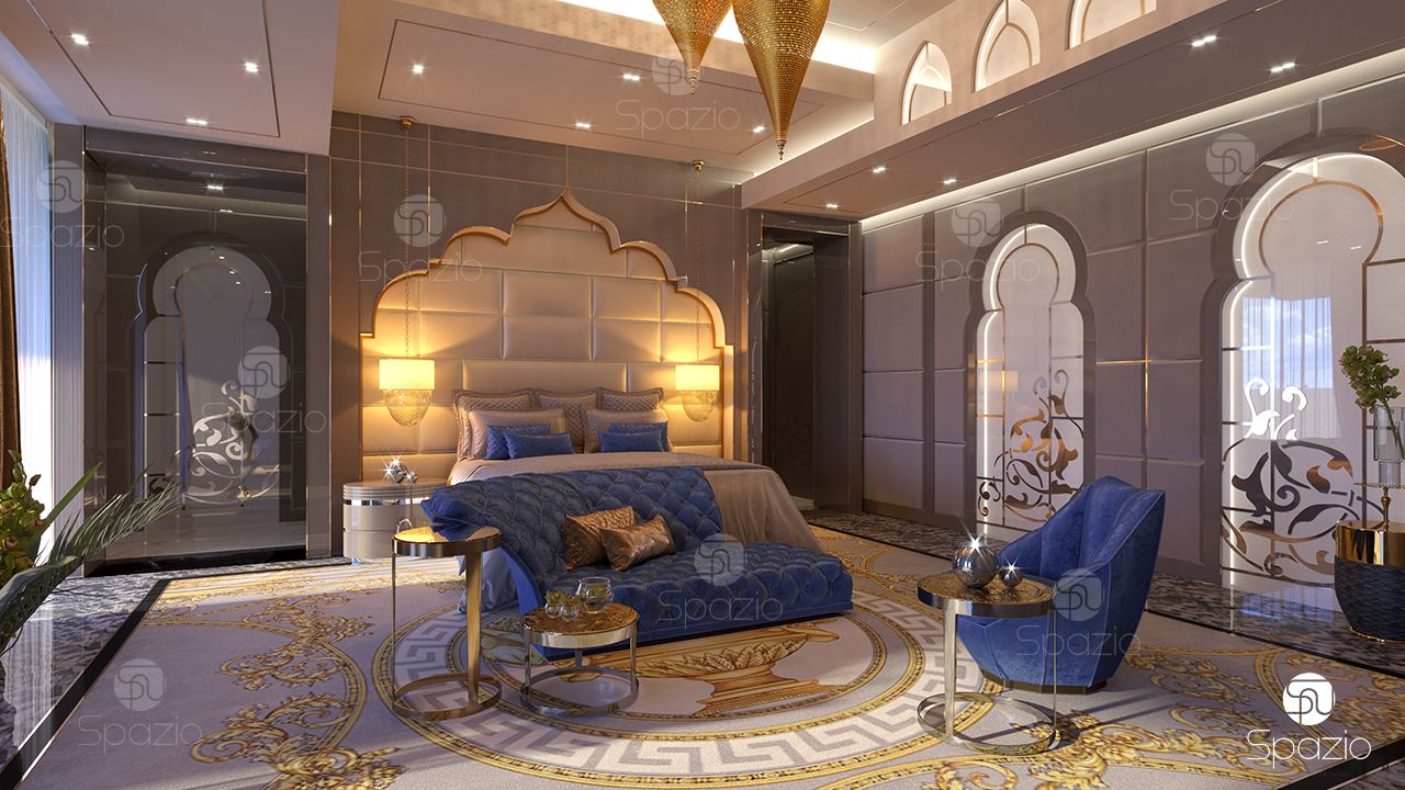 luxury master bedroom interior design in dubai 2019 spazio 15654 | master bedroom interior design arabic
