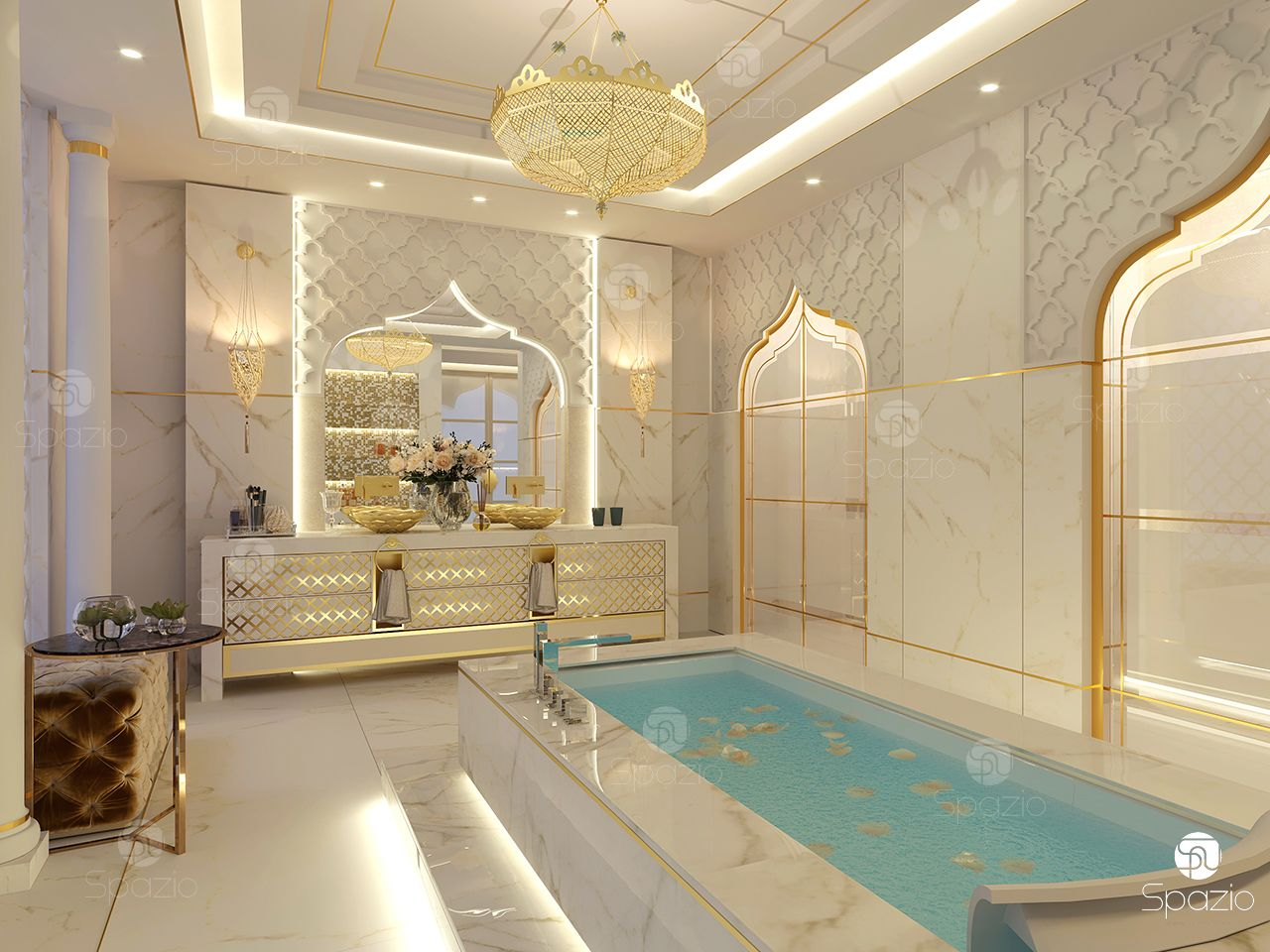 Moroccan decoration solution for master bathroom in white colour.