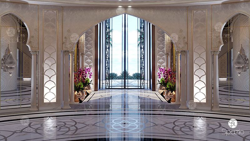 Main entrance decorating with marble, columns, patterns at a rich house.