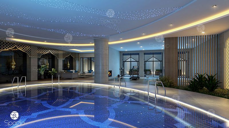 Internal swimming pool with impressive decorations.