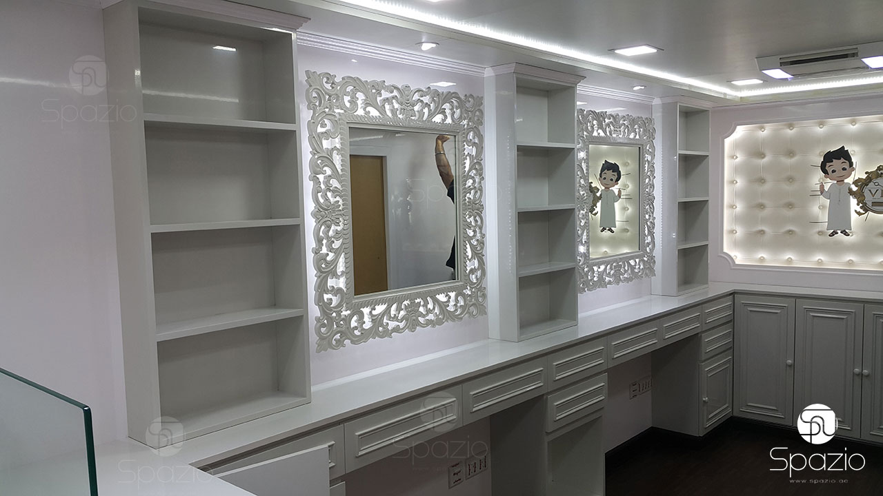 Inside of hairdressing van in Dubai UAE.