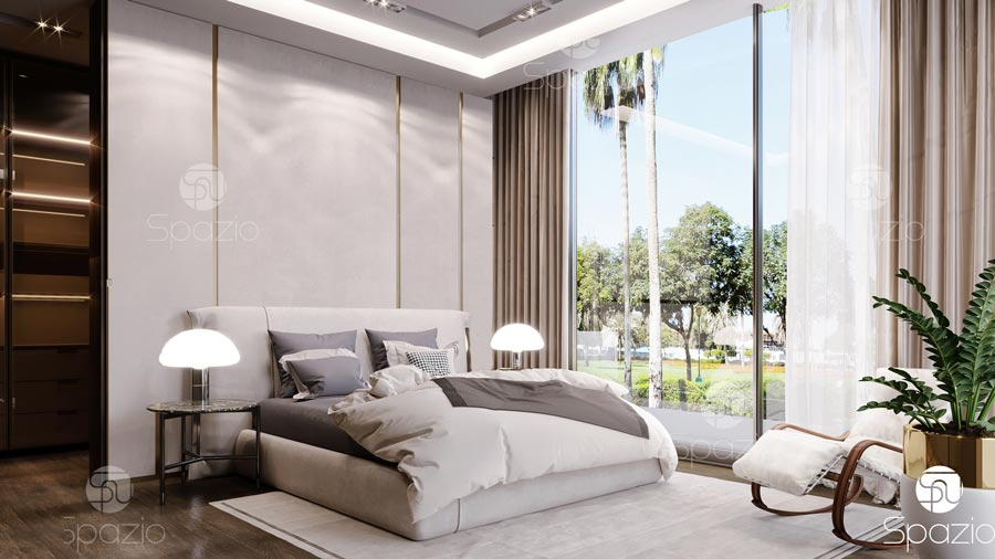 Modern decoration solution for a sleeping room in a Dubai villa.