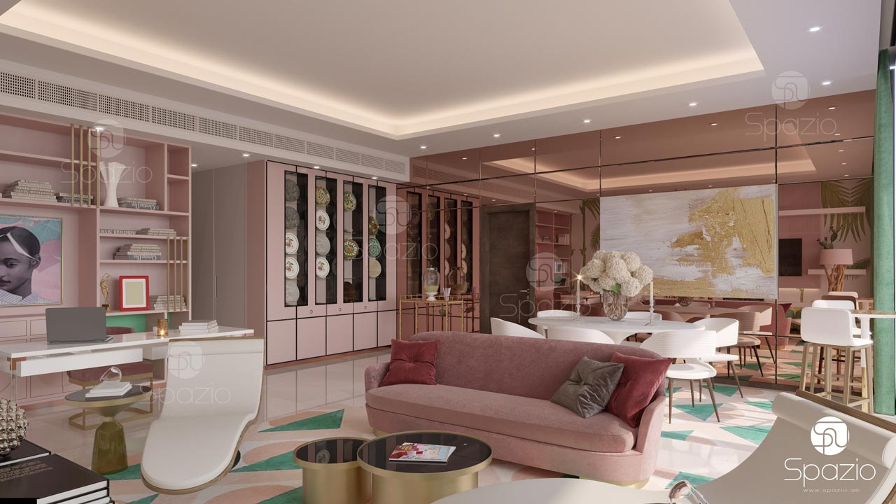 Pink style interior design for an apartment in Dubai.
