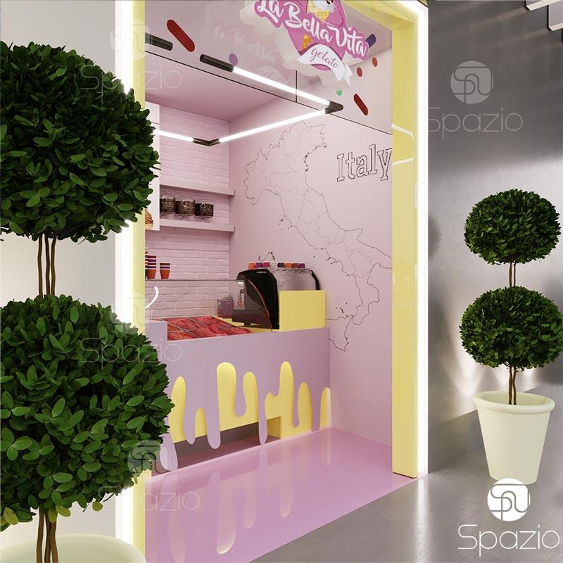 Fun ice cream shop with cure decor