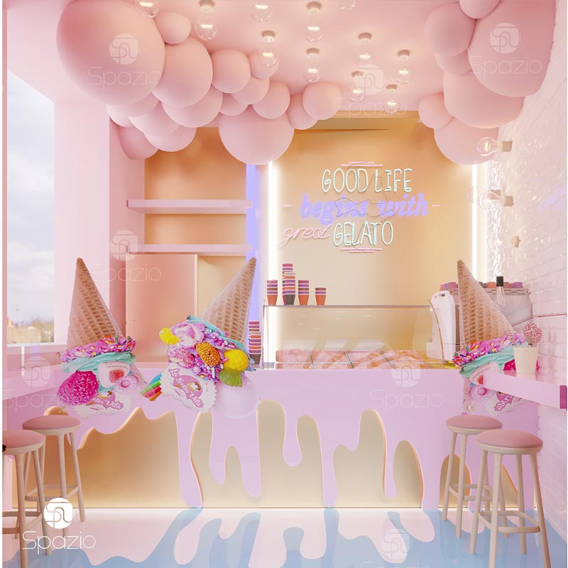 Interior design for an ice cream shop
