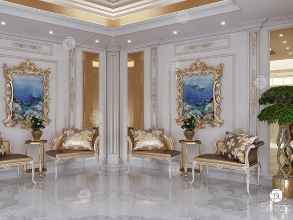 House entrance hall decorated with luxury gold decor.